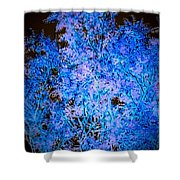 Abstract Pf Tree In Blue And Black Shower Curtain