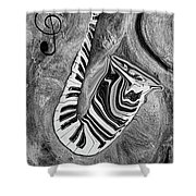 Piano Keys In A Saxophone 1 - Music In Motion Shower Curtain