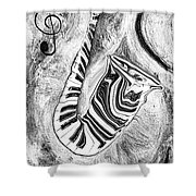 Piano Keys In A Saxophone 2 - Music In Motion Shower Curtain