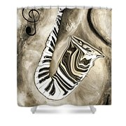 Piano Keys In A Saxophone 3 - Music In Motion Shower Curtain