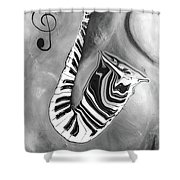 Piano Keys In A Saxophone 4 - Music In Motion Shower Curtain