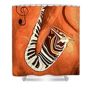 Piano Keys In A Saxophone - Music In Motion Shower Curtain