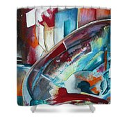 Abstract Red And Blue A Shower Curtain