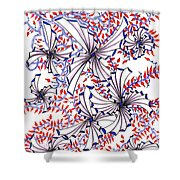Abstract Red And Blue Design  Shower Curtain