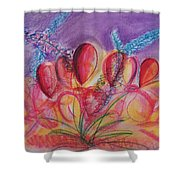 Abstract Red And Purple And Blue Shower Curtain