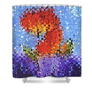 Abstract Red Flowers - Pieces 5 - Sharon Cummings Shower Curtain