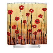 Abstract Red Poppy Field Shower Curtain