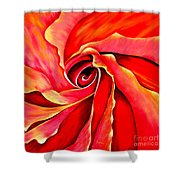 Abstract Rosebud Fire Orange Shower Curtain
