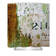Rust Absract With Stenciled Numbers Shower Curtain