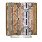 Wood And Blue Shower Curtain