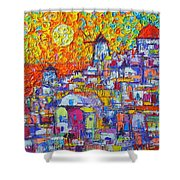 Abstract Santorini Oia Sunset Floral Sky Impressionist Palette Knife Painting  Ana Maria Edulescu Shower Curtain