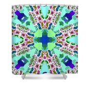 Abstract Seamless Pattern  - Blue Green Purple Pink White Shower Curtain