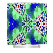 Abstract Seamless Pattern - Blue Green Turquoise Red White Shower Curtain