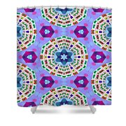 Abstract Seamless Pattern  - Blue Purple Pink Violet Lilac Orange Green Shower Curtain