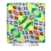 Abstract Seamless Pattern  - Yellow Green Purple Blue Gray White Shower Curtain
