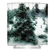 Abstract Snowy Trees Lighter Shower Curtain