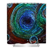 Abstract Space Art. Sparkling Antimatter Shower Curtain
