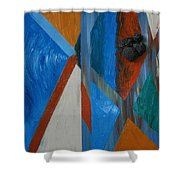 Abstract Space Shower Curtain