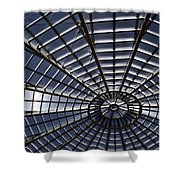 Abstract Spiderweb View Of A Central Tower Skylight At The World Shower Curtain
