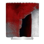 Abstract Square Red Black White Grey Textured Window Alcove 2a Shower Curtain