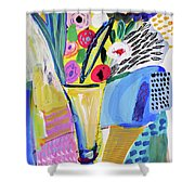 Abstract Still Life With Flowers Shower Curtain