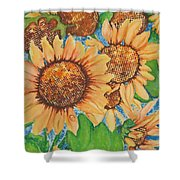 Abstract Sunflowers Shower Curtain