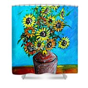 Abstract Sunflowers W/vase Shower Curtain