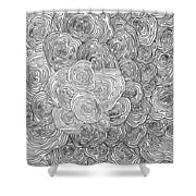 Abstract Swirl Design In Black And White #1 Shower Curtain