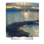 Abstract Tahoe Shower Curtain
