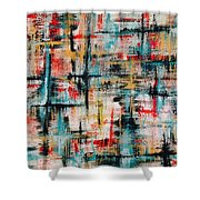 Abstract Teal Crosses Shower Curtain