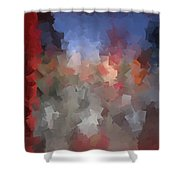 Red And Blue - Abstract Tiles No. 16.0110 Shower Curtain