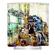 Abstract Train Shower Curtain