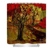 Abstract Tree Shower Curtain
