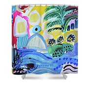 Abstract Tropical Landscape Shower Curtain