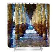 Abstract Under Pier Beach Shower Curtain
