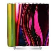 Abstract Verticle Shapes In Green And Red Shower Curtain