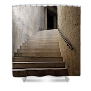 Abstract View Of Stone Curved Staircase At The World War I Monum Shower Curtain