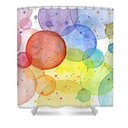 Abstract Watercolor Rainbow Circles Shower Curtain