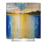 Abstract Waterfall At Sunset Shower Curtain