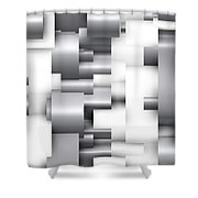 Abstract White And Grey Shower Curtain
