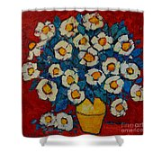 Abstract Wild White Roses Original Oil Painting Shower Curtain