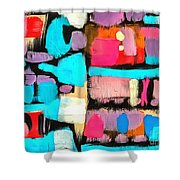 Abstract Wine Bottles Blue Red Shower Curtain
