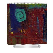 Abstract With Teal Spiral Shower Curtain