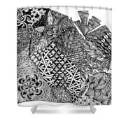 Abstract Zentangle Inspired Design In Black And White Shower Curtain