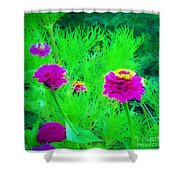 Abstract Zinnias In Green And Pink Shower Curtain
