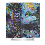 Abstracted Koi Pond Shower Curtain
