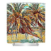 Abstracted Loop Palms Shower Curtain