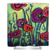 Abstracted Poppies Shower Curtain