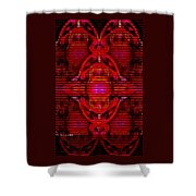 Abstracticalia In Red For Edith And Costa Halkiadakis V  A Shower Curtain