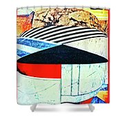 Abstracts On Red Shower Curtain